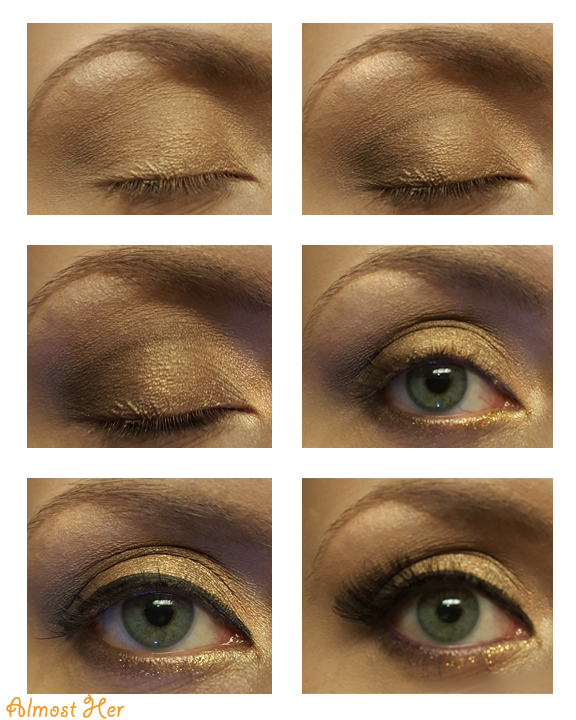 Gold Summer Look using Naked 2 palette!  Great festival look!! Almost Her Blog