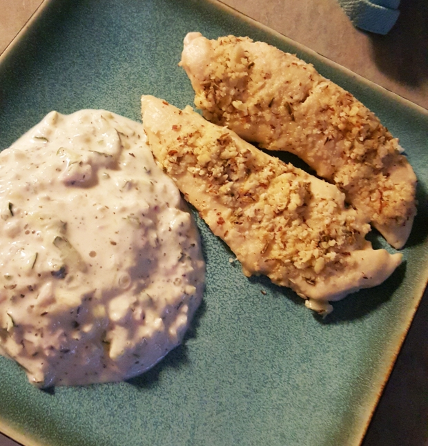 Finished Almond-crusted Chicken with the Cucumber Yogurt side!