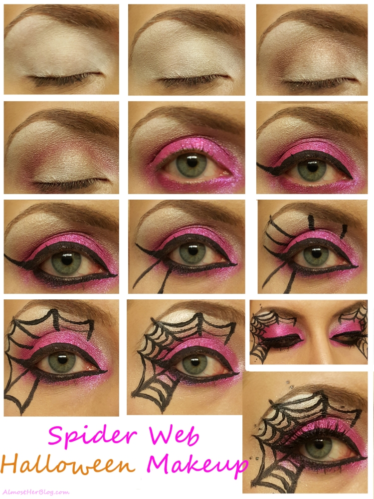 Spider Web Makeup for Halloween!! Almostherblog.com #spiderweb #halloweenmakeup