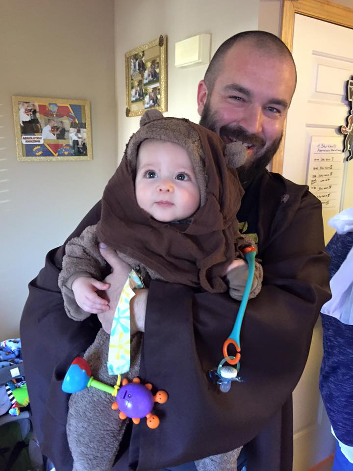 Dan as a Jedi and the cutest little Ewok ever!