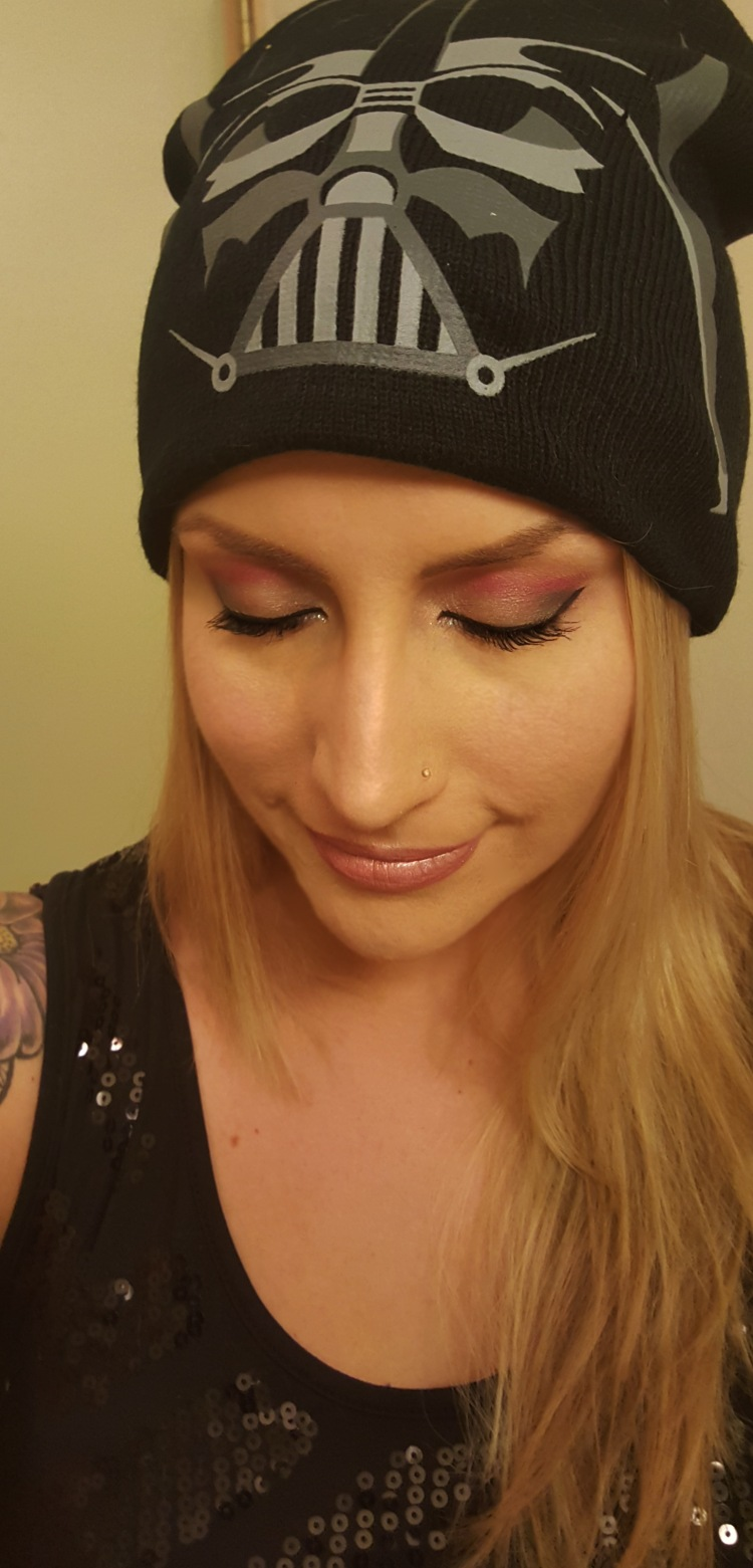 Darth Vader Inspired Makeup Look #StarWars #Makeup #eyeshadow #darthvader #redsilverblack at almostherblog.com