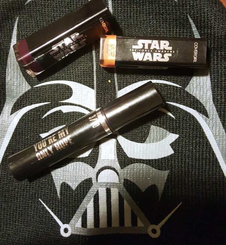 Covergirl Star Wars Lipsticks and Mascara #starwars #lipstick #gold #lightside #mascara