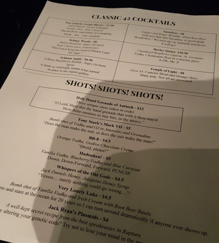 42Lounge Drink Menu in Milwaukee, WI