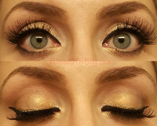 Pretty Christmas Gold Glitter Liner Look! Gold and Red at almostherblog.com #christmasmakeup #holidaylook #goldliner #goldandred #bblogger