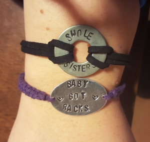 Pretty jewelry that Kellie made us!! #swolesisters #babygotracks